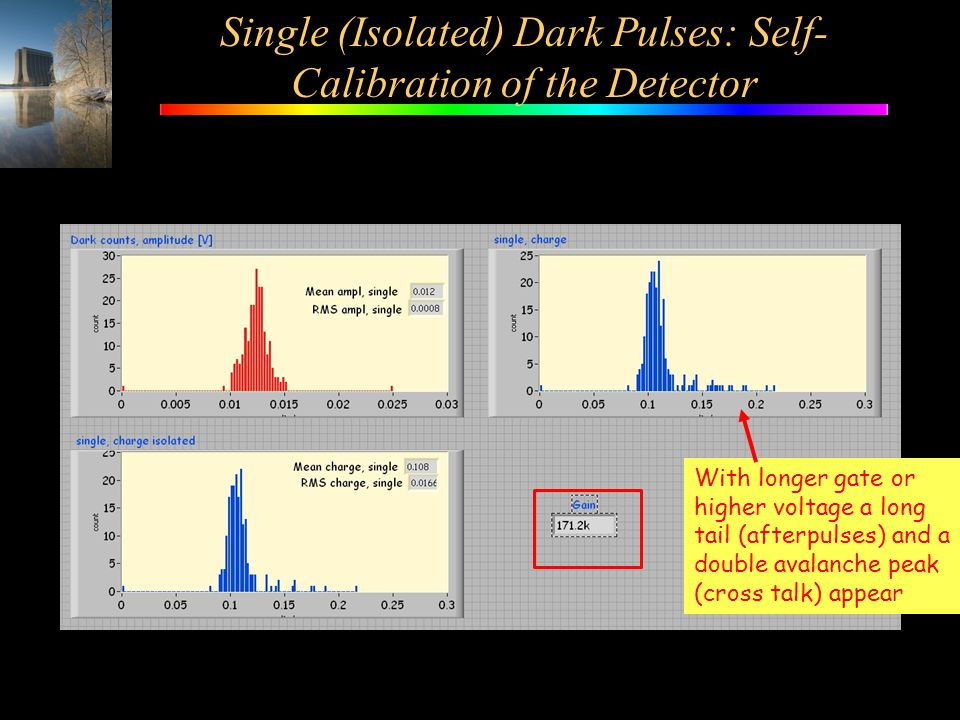Single (Isolated) Dark Pulses: Self-Calibration of the Detector