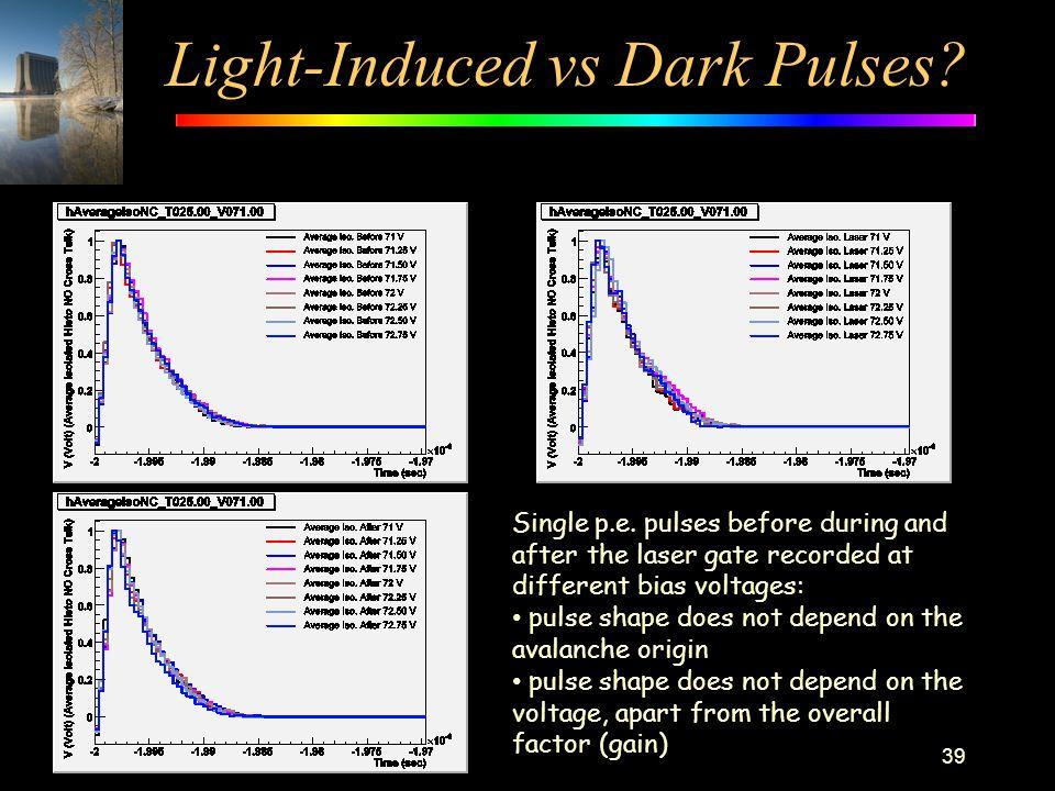 Light-Induced vs Dark Pulses