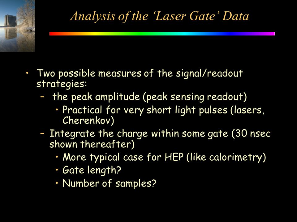 Analysis of the 'Laser Gate' Data