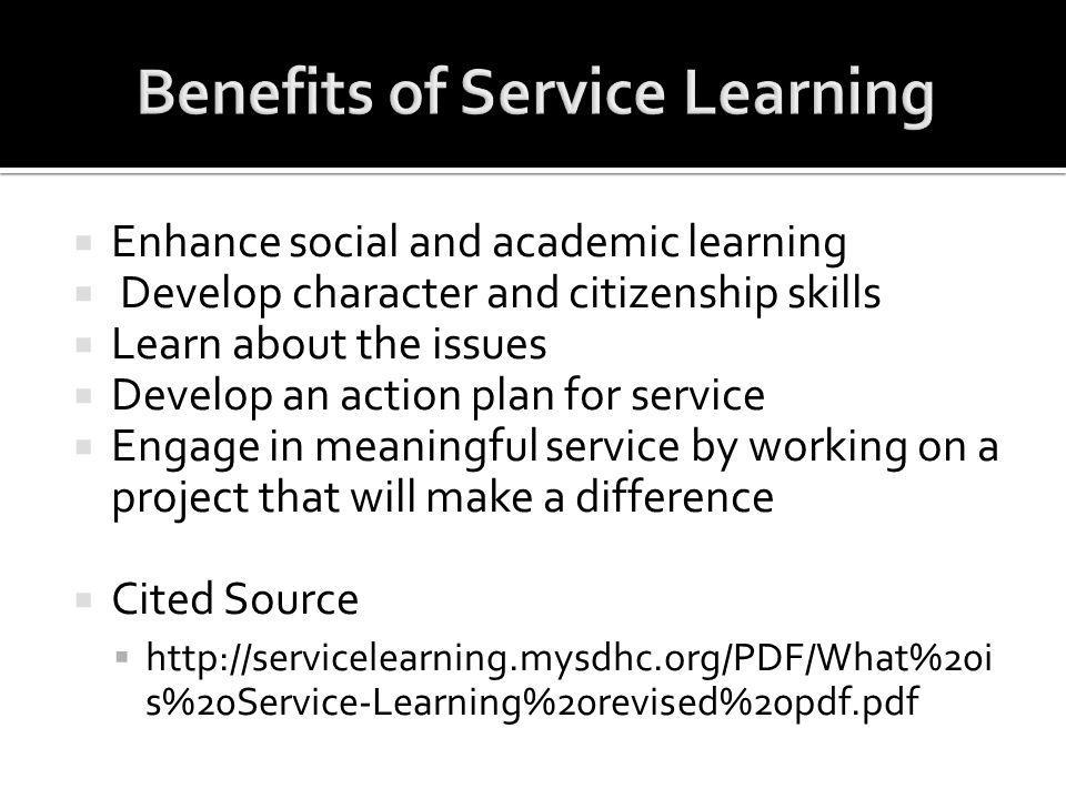 Benefits of Service Learning
