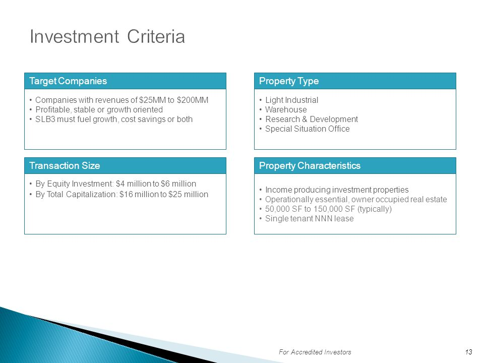 Investment Criteria Target Companies Property Type Transaction Size
