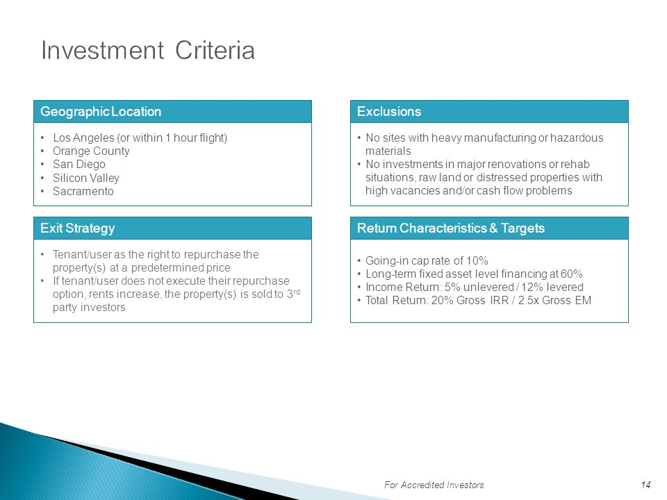 Investment Criteria Geographic Location Exclusions Exit Strategy