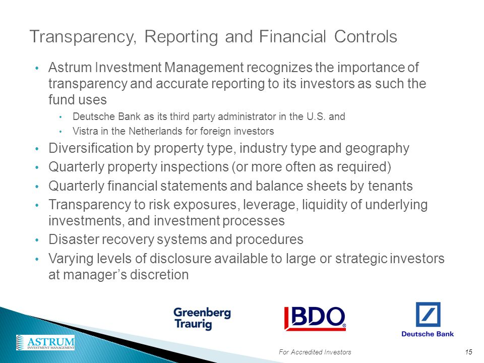 Transparency, Reporting and Financial Controls