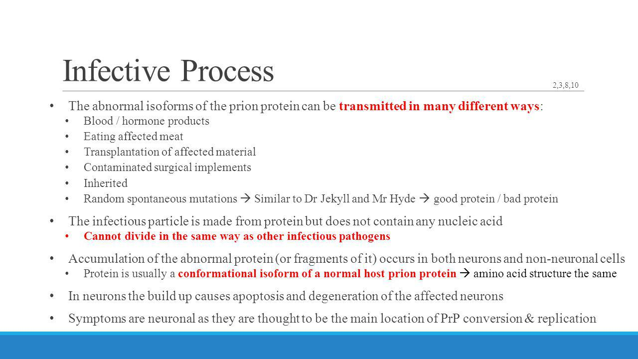 Infective Process 2,3,8,10. The abnormal isoforms of the prion protein can be transmitted in many different ways: