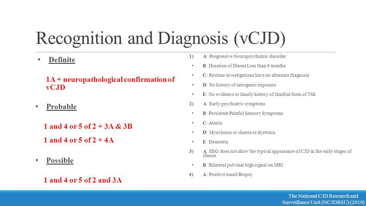 Recognition and Diagnosis (vCJD)