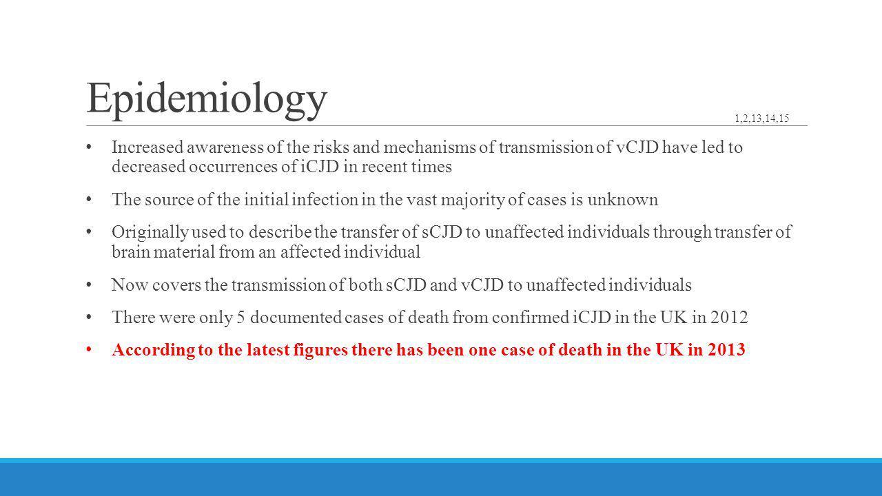 Epidemiology 1,2,13,14,15.