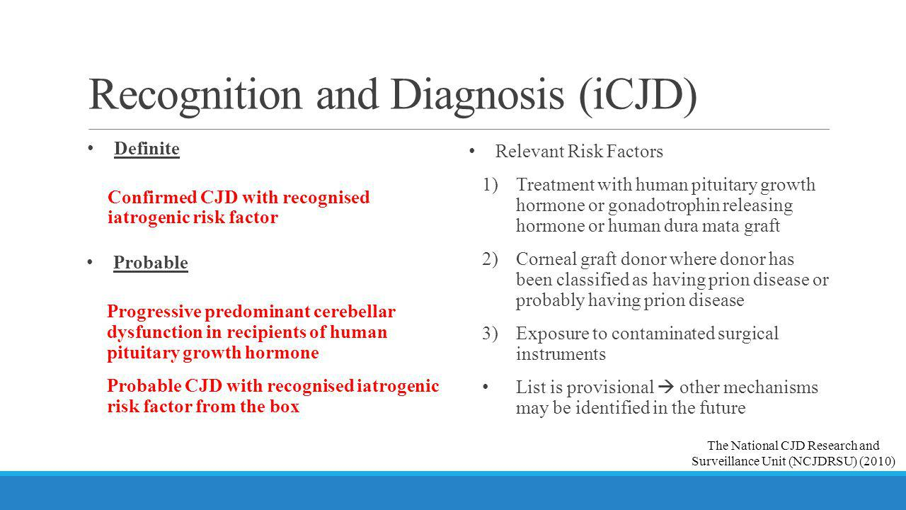 Recognition and Diagnosis (iCJD)