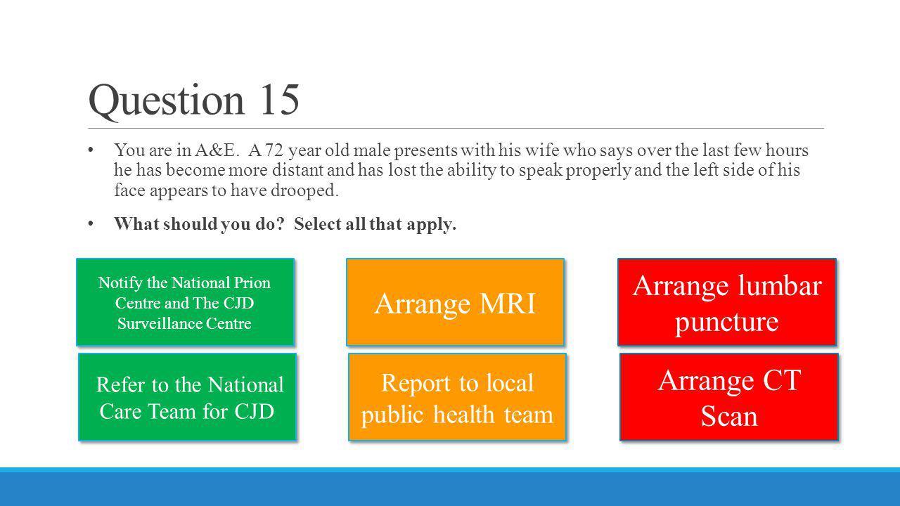Question 15 Arrange lumbar puncture Arrange MRI Arrange CT Scan