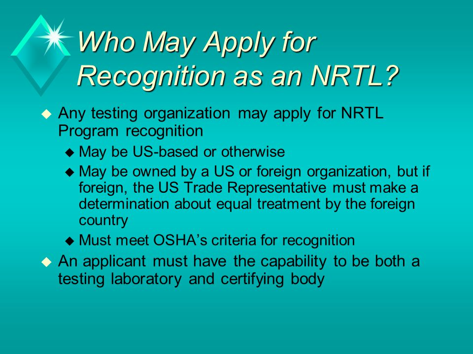 Who May Apply for Recognition as an NRTL
