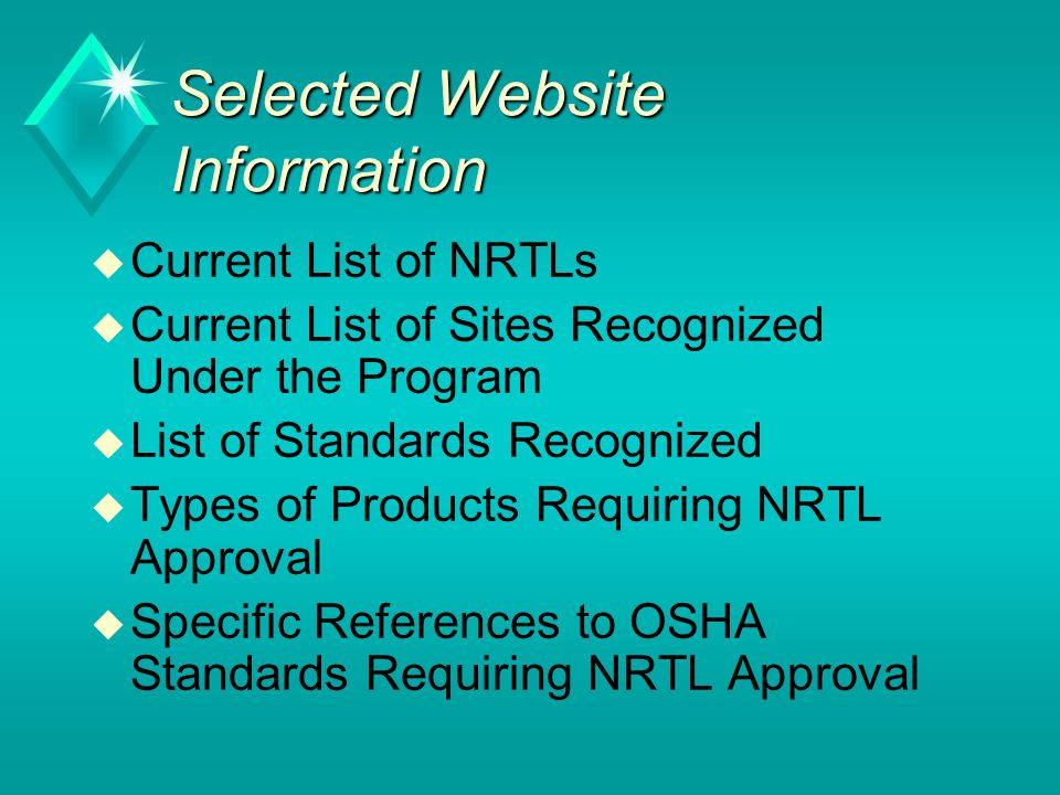 Selected Website Information