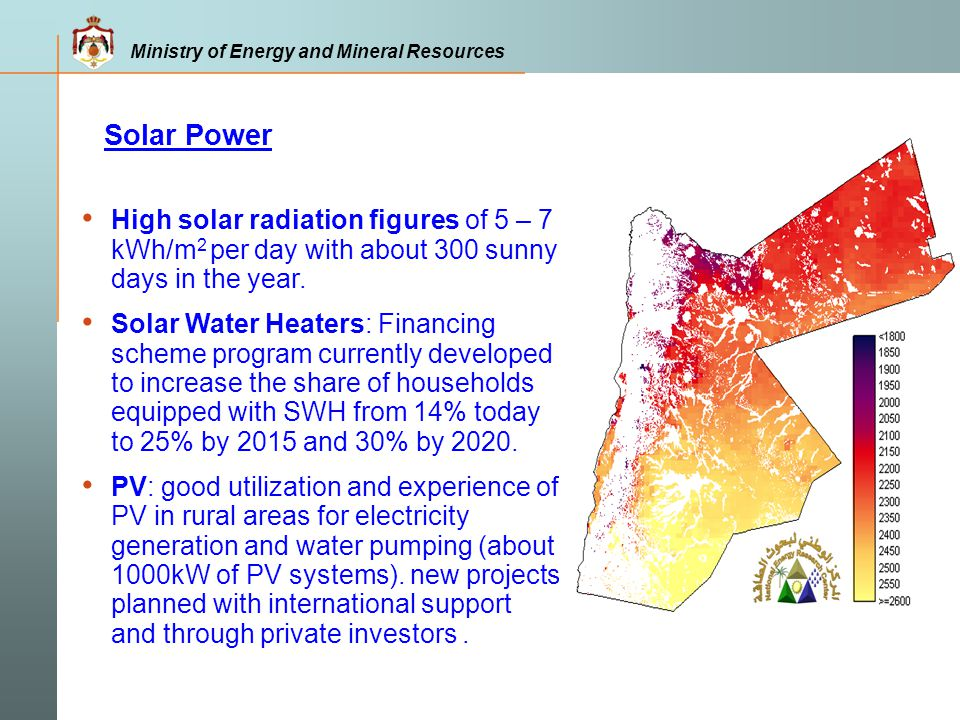 Solar Power High solar radiation figures of 5 – 7 kWh/m2 per day with about 300 sunny days in the year.