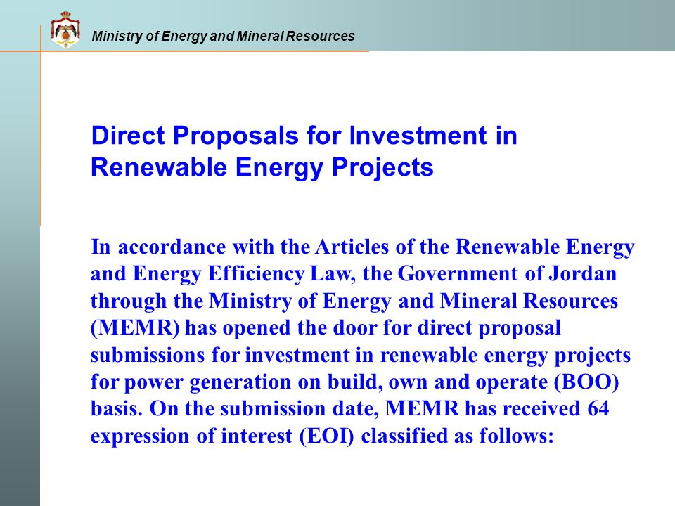 Direct Proposals for Investment in Renewable Energy Projects