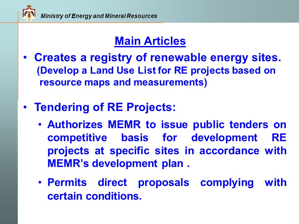 Creates a registry of renewable energy sites.