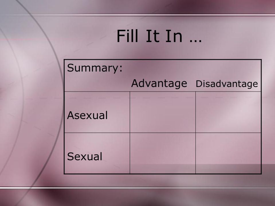 Fill It In … Summary: Advantage Disadvantage Asexual Sexual
