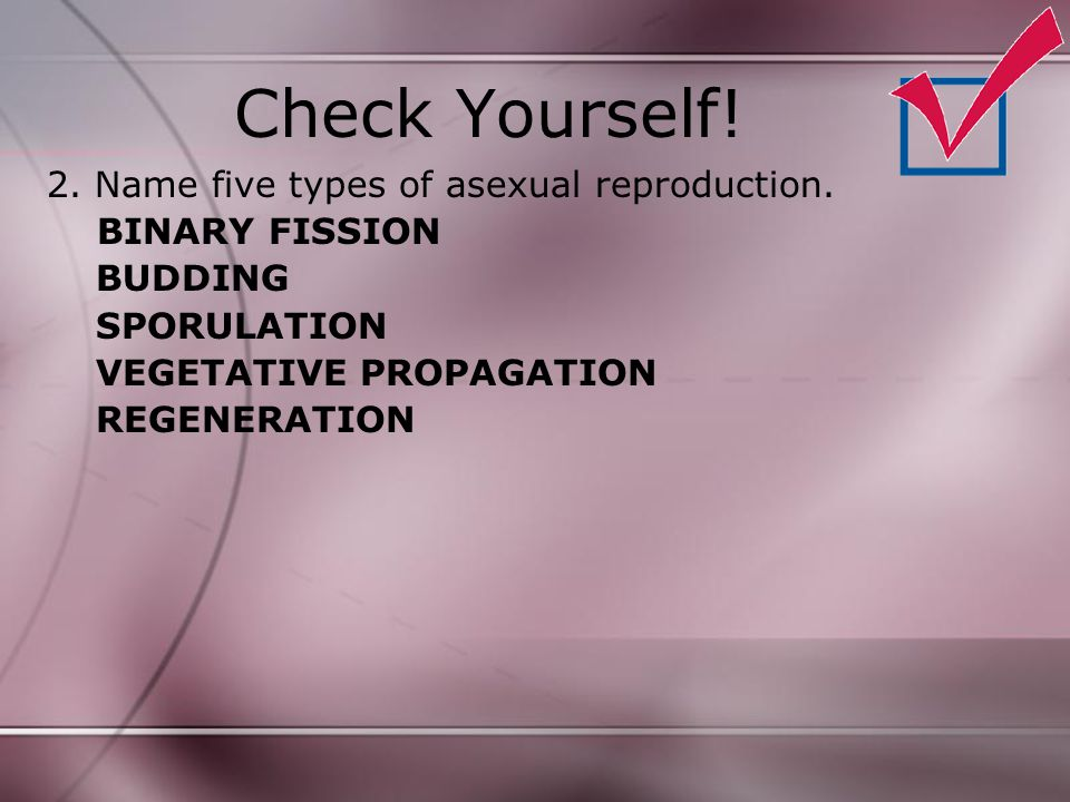 Check Yourself! 2. Name five types of asexual reproduction.