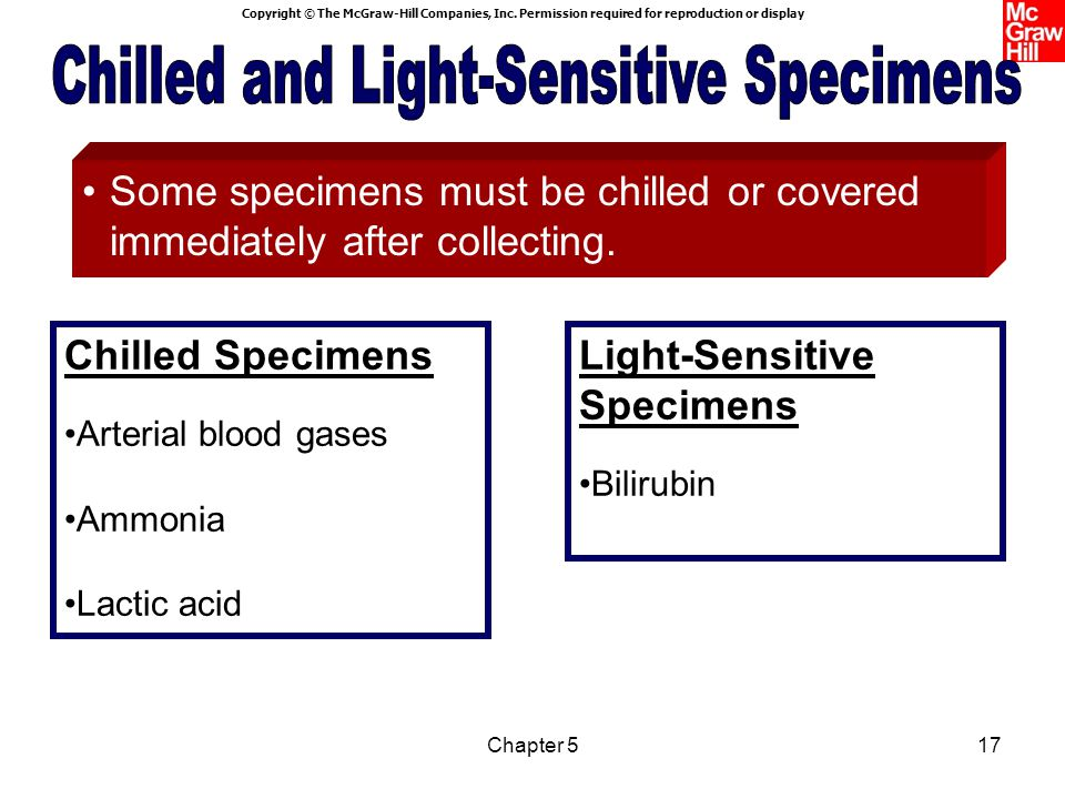 Chilled and Light-Sensitive Specimens