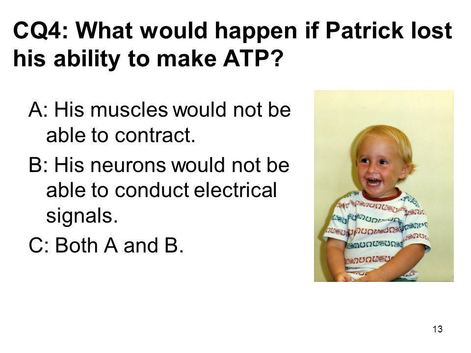 CQ4: What would happen if Patrick lost his ability to make ATP