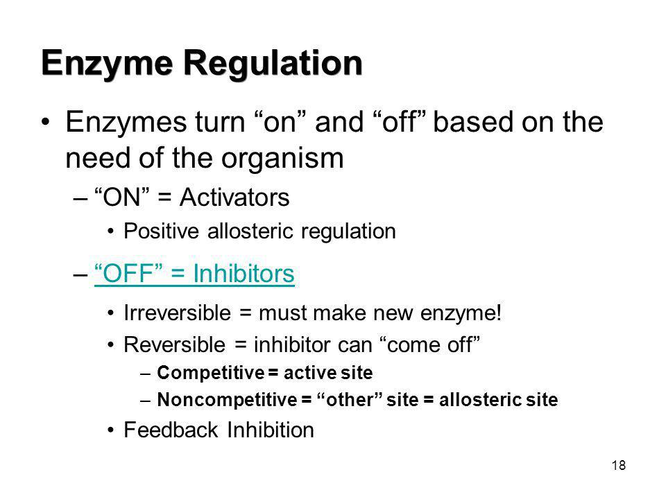 Enzyme Regulation Enzymes turn on and off based on the need of the organism. ON = Activators.