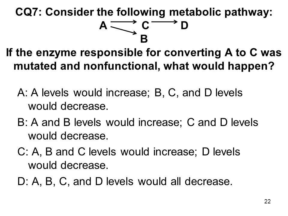 CQ7: Consider the following metabolic pathway: A C D B If the enzyme responsible for converting A to C was mutated and nonfunctional, what would happen