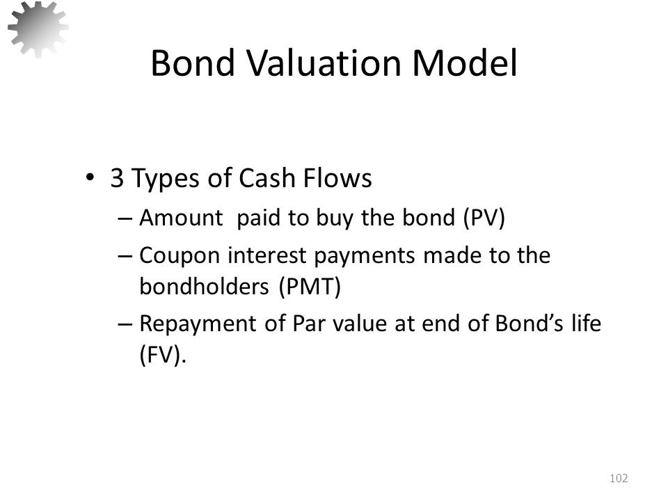 Bond Valuation Model 3 Types of Cash Flows
