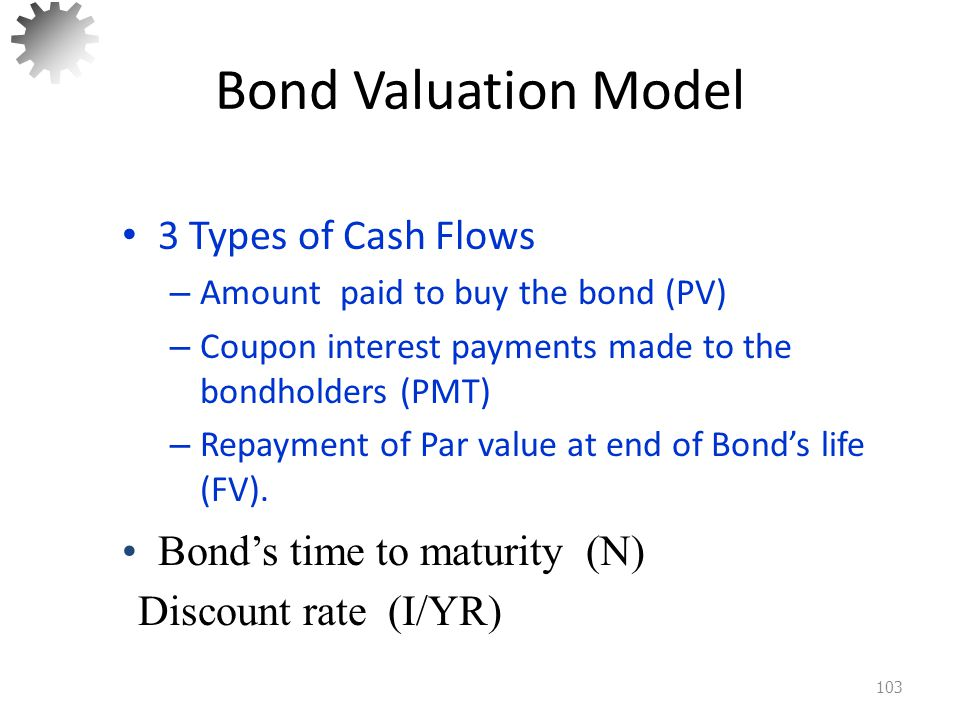 Bond Valuation Model 3 Types of Cash Flows Bond's time to maturity (N)