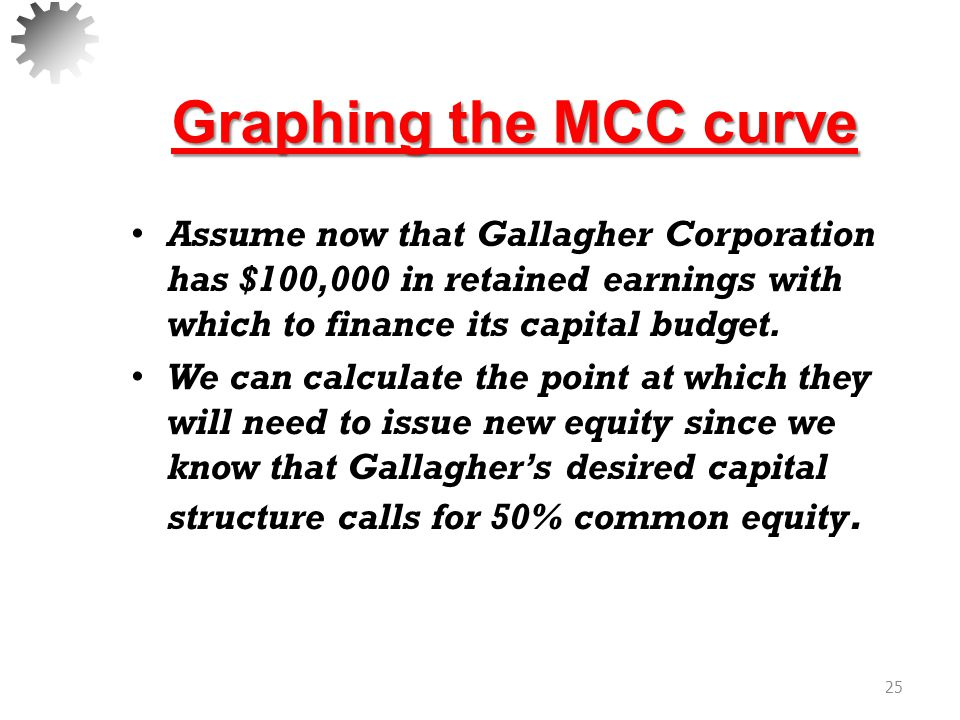 Graphing the MCC curve Assume now that Gallagher Corporation has $100,000 in retained earnings with which to finance its capital budget.