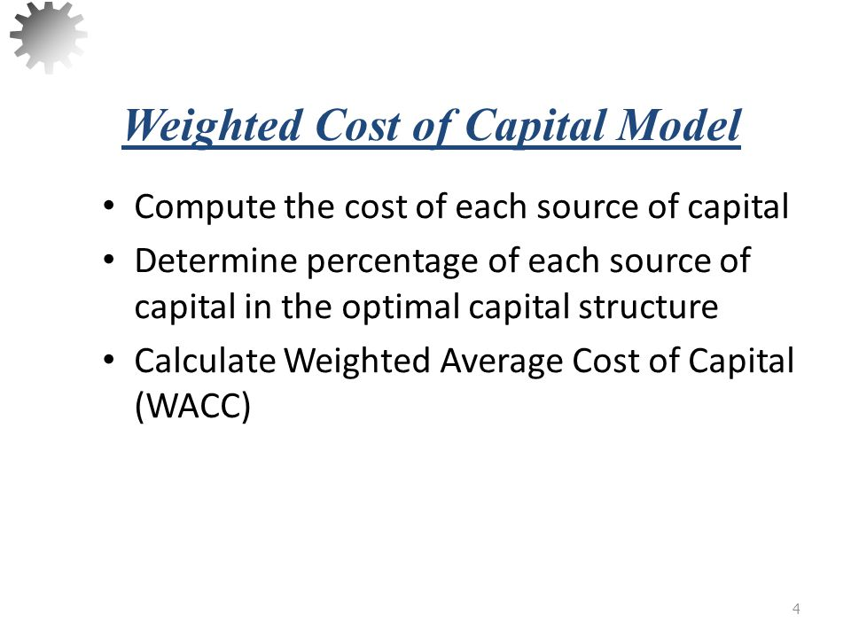 Weighted Cost of Capital Model