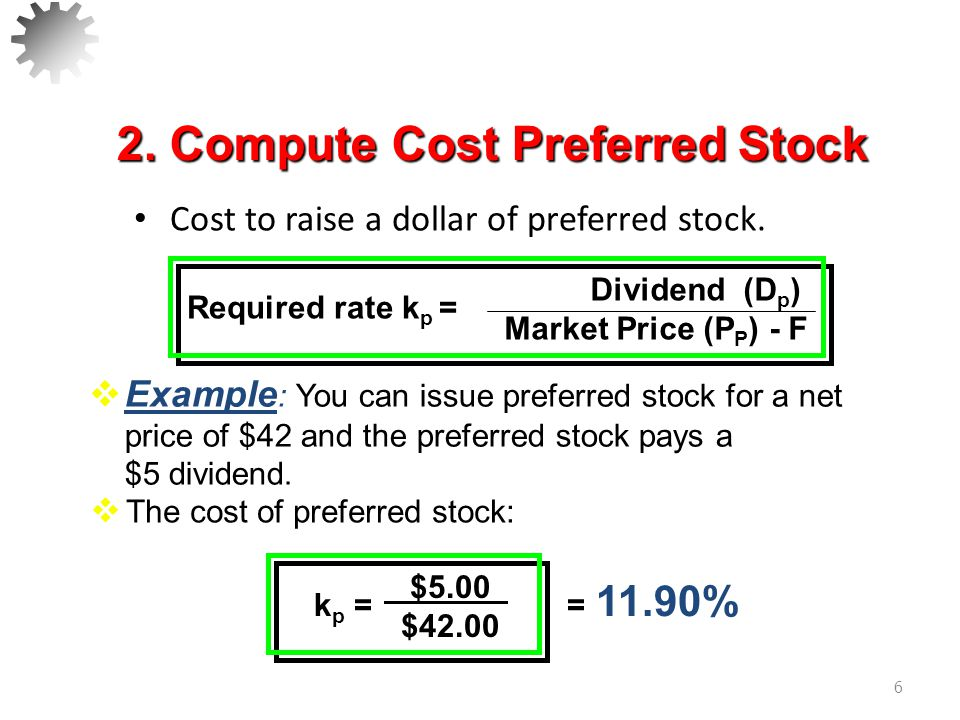 2. Compute Cost Preferred Stock