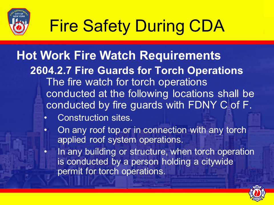 Fire Safety During CDA Hot Work Fire Watch Requirements