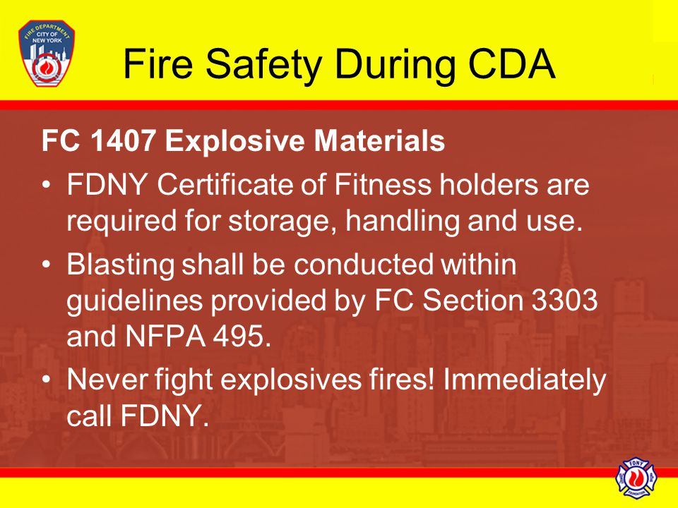 Fire Safety During CDA FC 1407 Explosive Materials