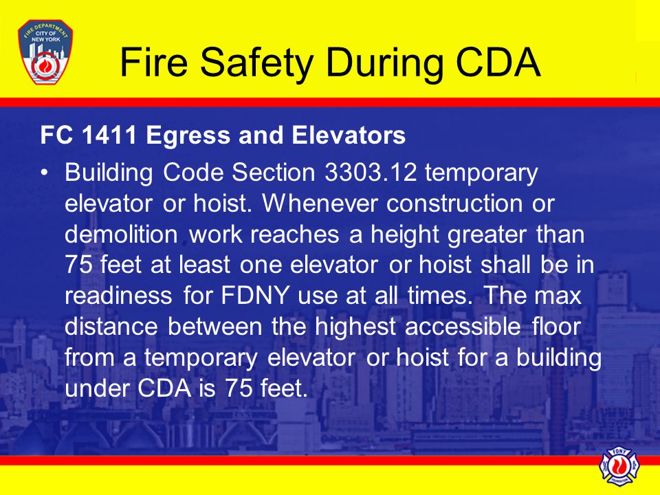 Fire Safety During CDA FC 1411 Egress and Elevators