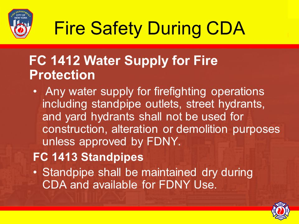 Fire Safety During CDA FC 1412 Water Supply for Fire Protection