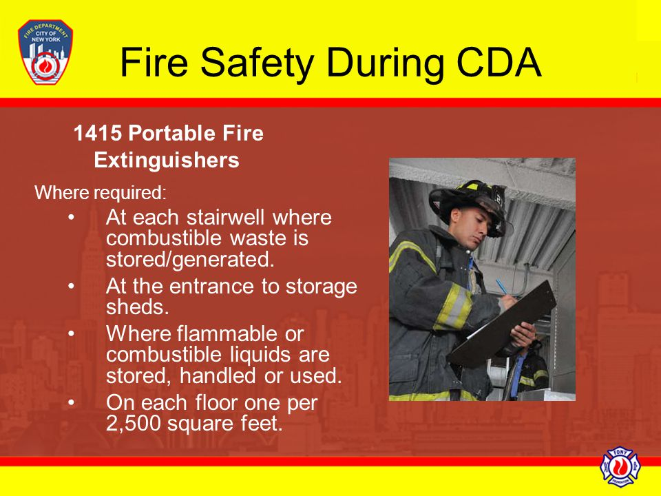 Fire Safety During CDA 1415 Portable Fire Extinguishers