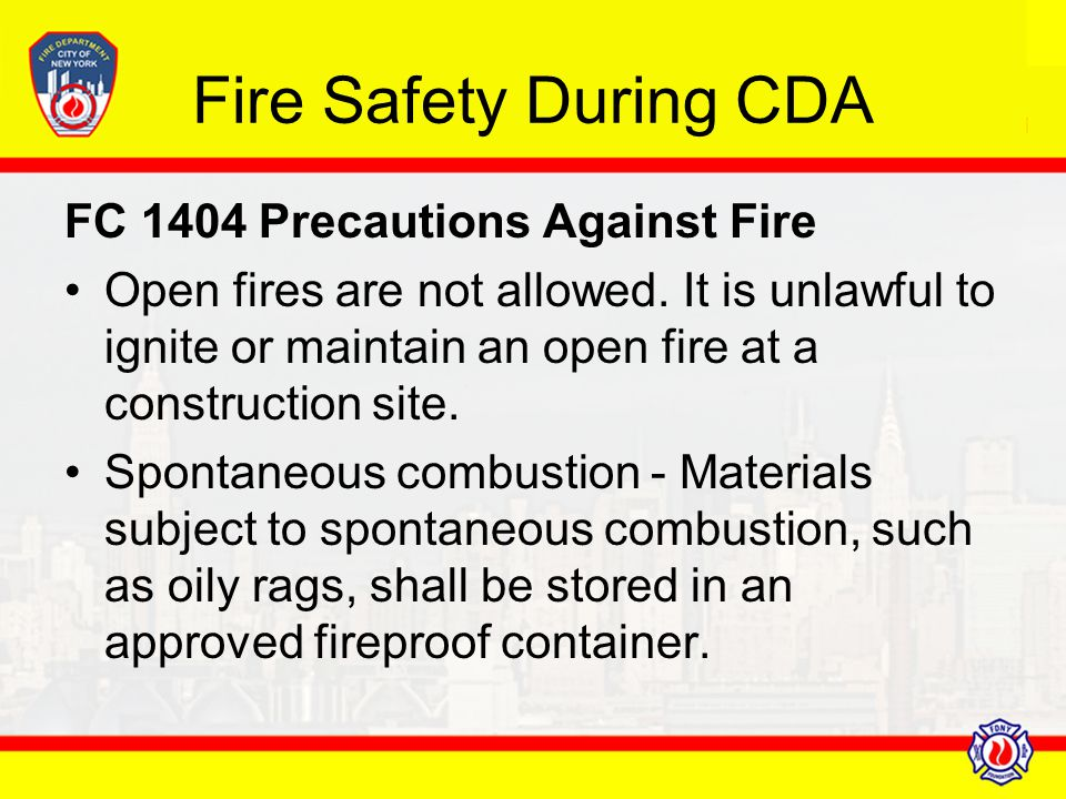 Fire Safety During CDA FC 1404 Precautions Against Fire