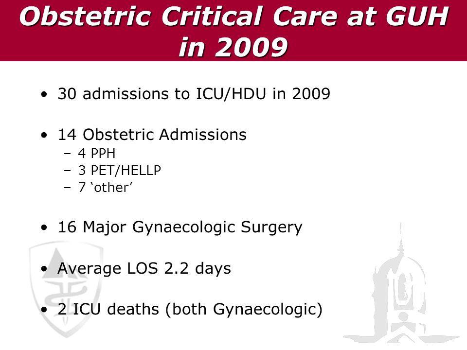 Obstetric Critical Care at GUH in 2009