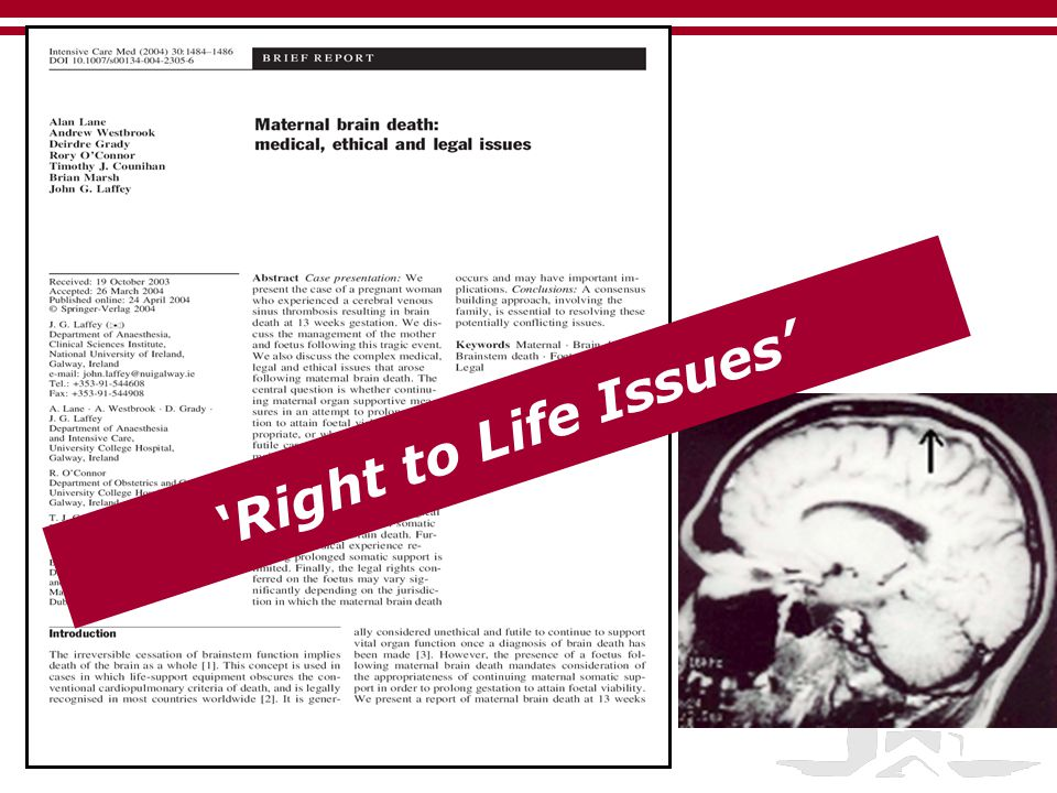 'Right to Life Issues' Office of the Dean of Research