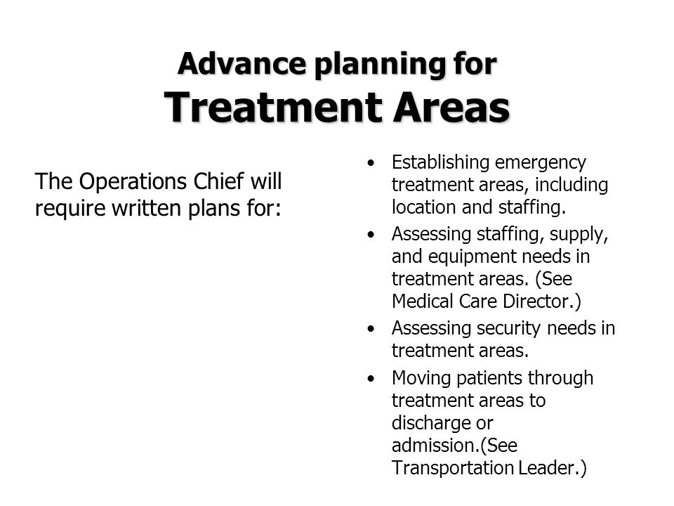 Advance planning for Treatment Areas