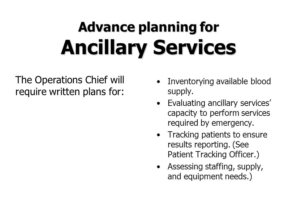 Advance planning for Ancillary Services