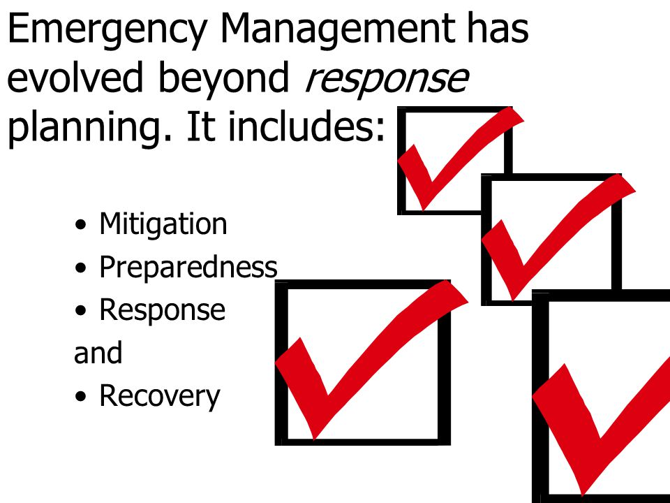 Emergency Management has evolved beyond response planning. It includes: