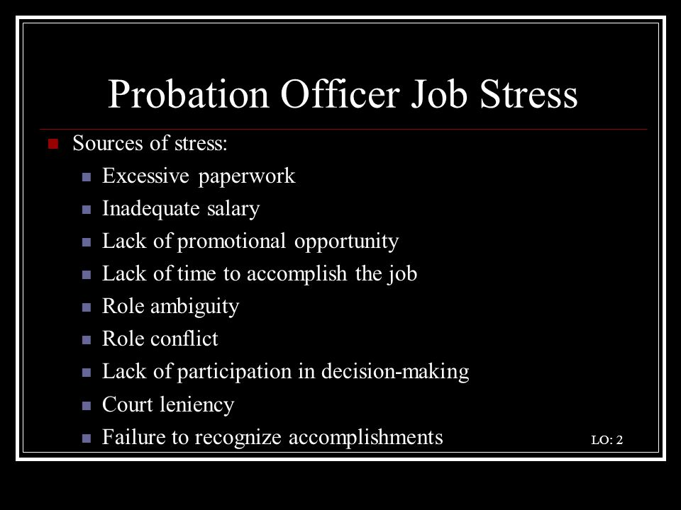 Probation Officer Job Stress