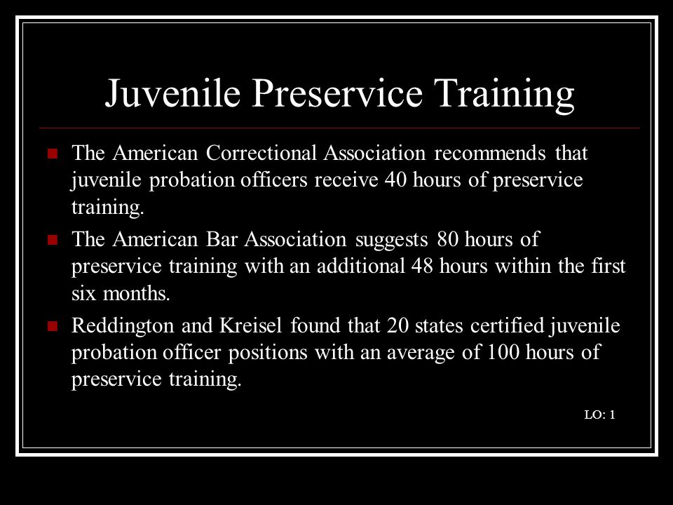 Juvenile Preservice Training