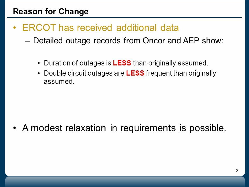 ERCOT has received additional data