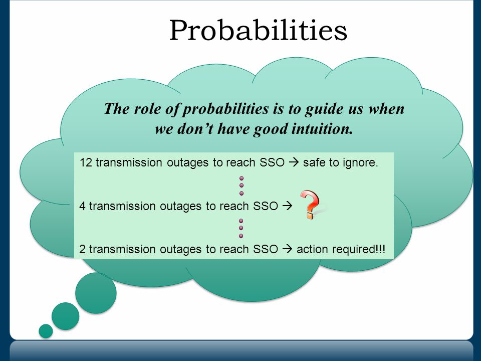 Probabilities The role of probabilities is to guide us when we don't have good intuition. 12 transmission outages to reach SSO  safe to ignore.