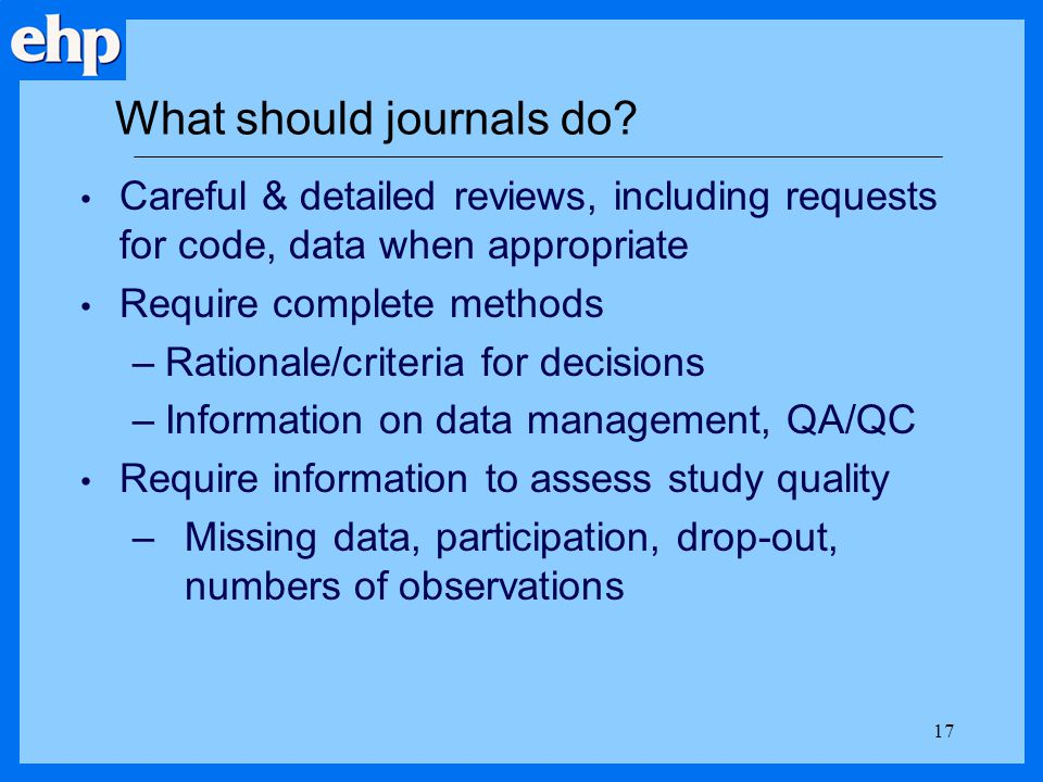 What should journals do