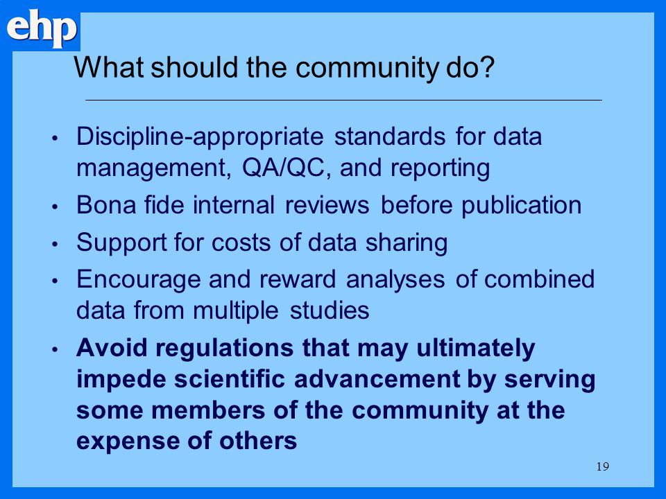 What should the community do
