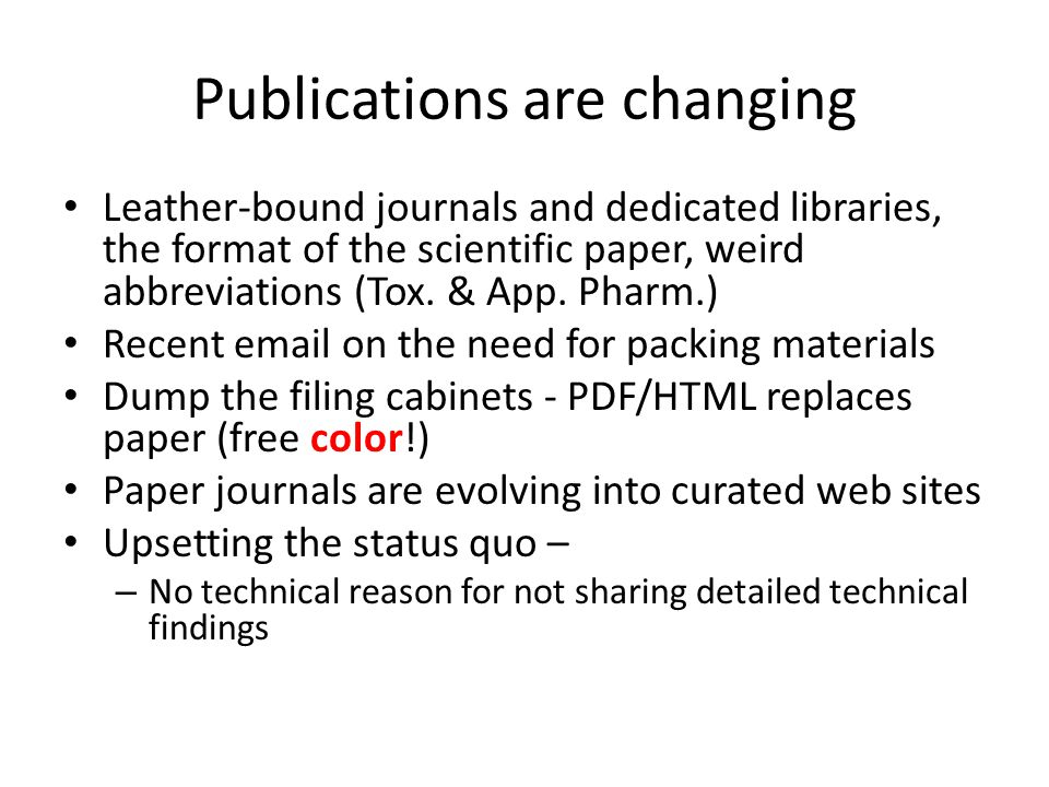 Publications are changing