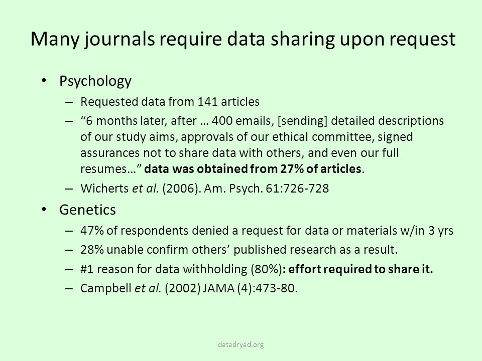 Many journals require data sharing upon request