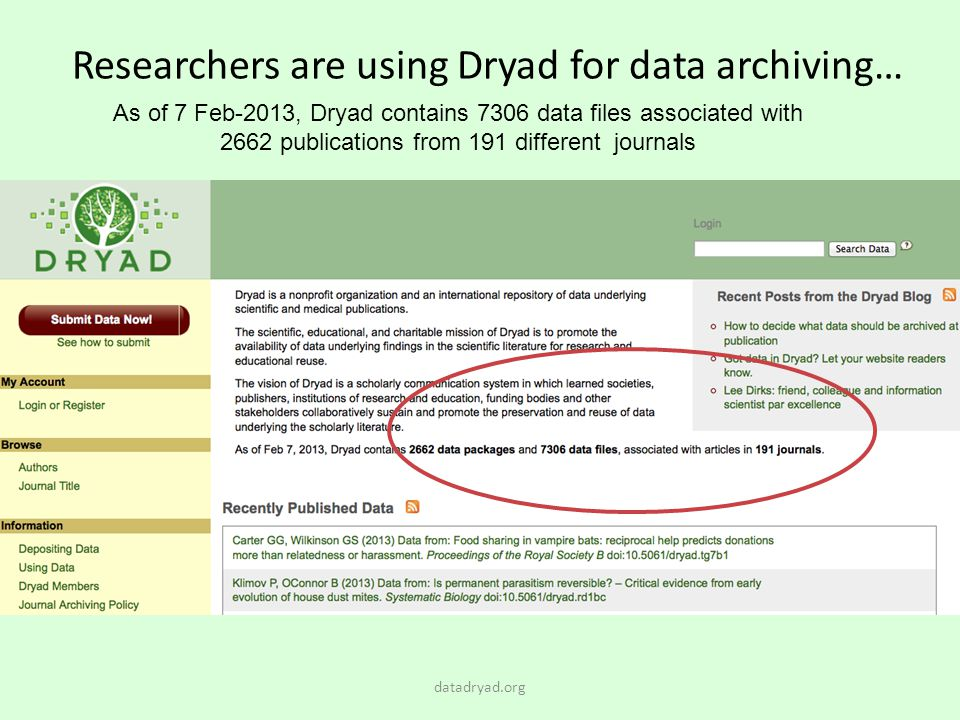 Researchers are using Dryad for data archiving…