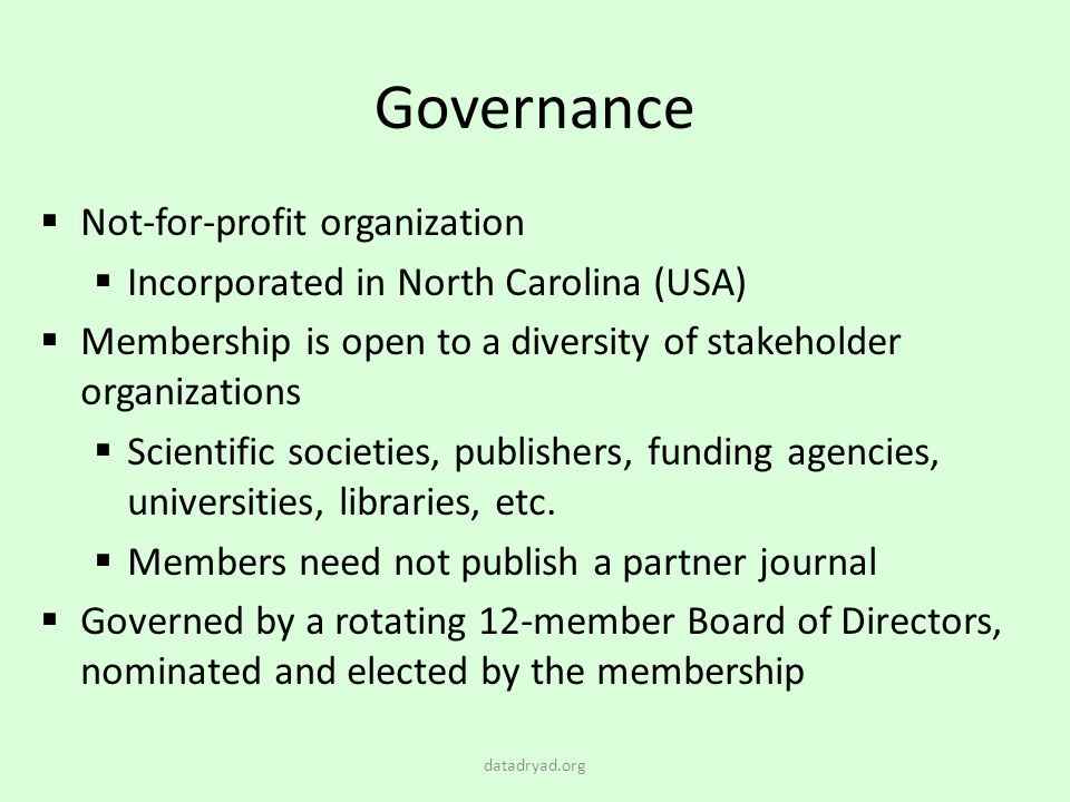 Governance Not-for-profit organization