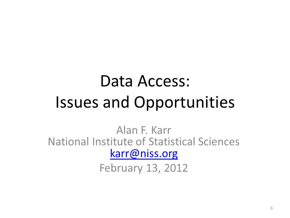 Data Access: Issues and Opportunities